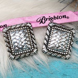 Brighton Woven Square Silver Pl Clip On Earrings